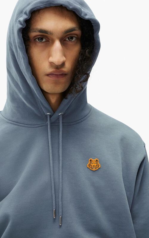 BLUE Tiger Crest hooded sweatshirt for men KENZO