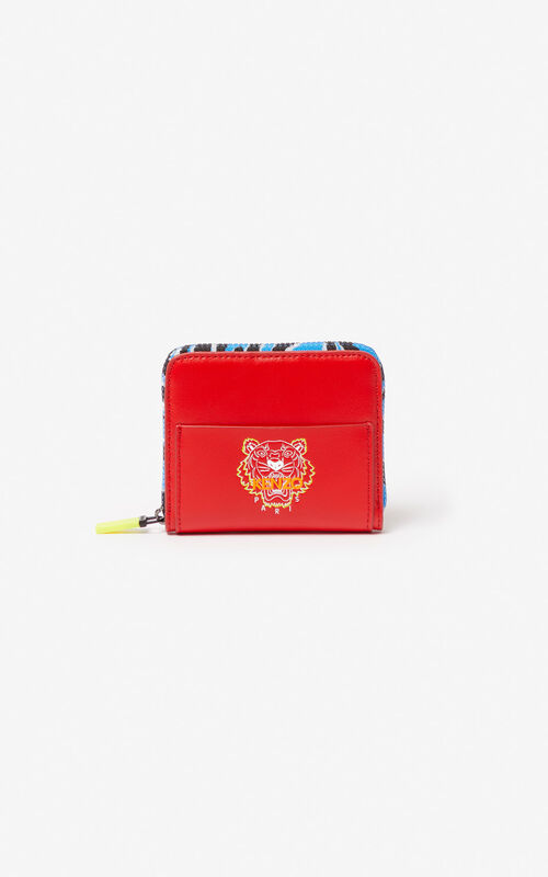 MEDIUM RED 'Tiny Tiger' leather wallet for unisex KENZO