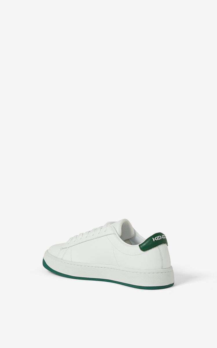 BOTTLE GREEN KENZO Kourt K Logo leather sneakers for unisex