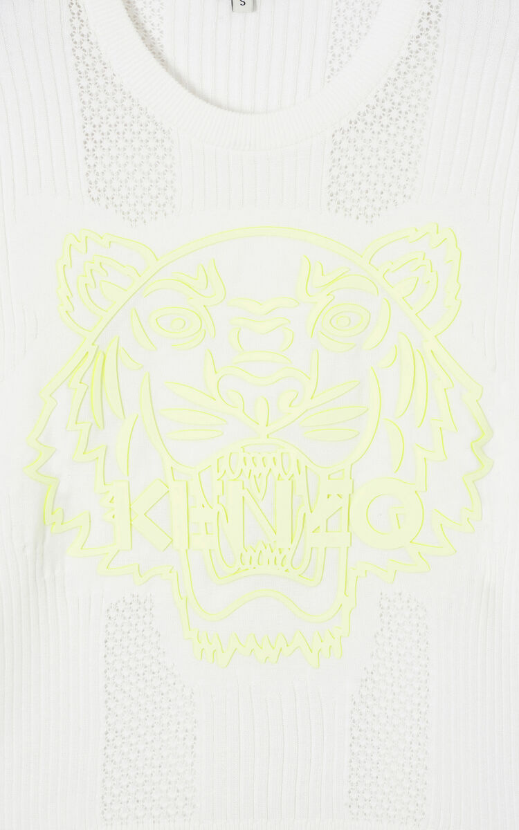 WHITE Openwork Tiger jumper 'High Summer Capsule collection' for women KENZO
