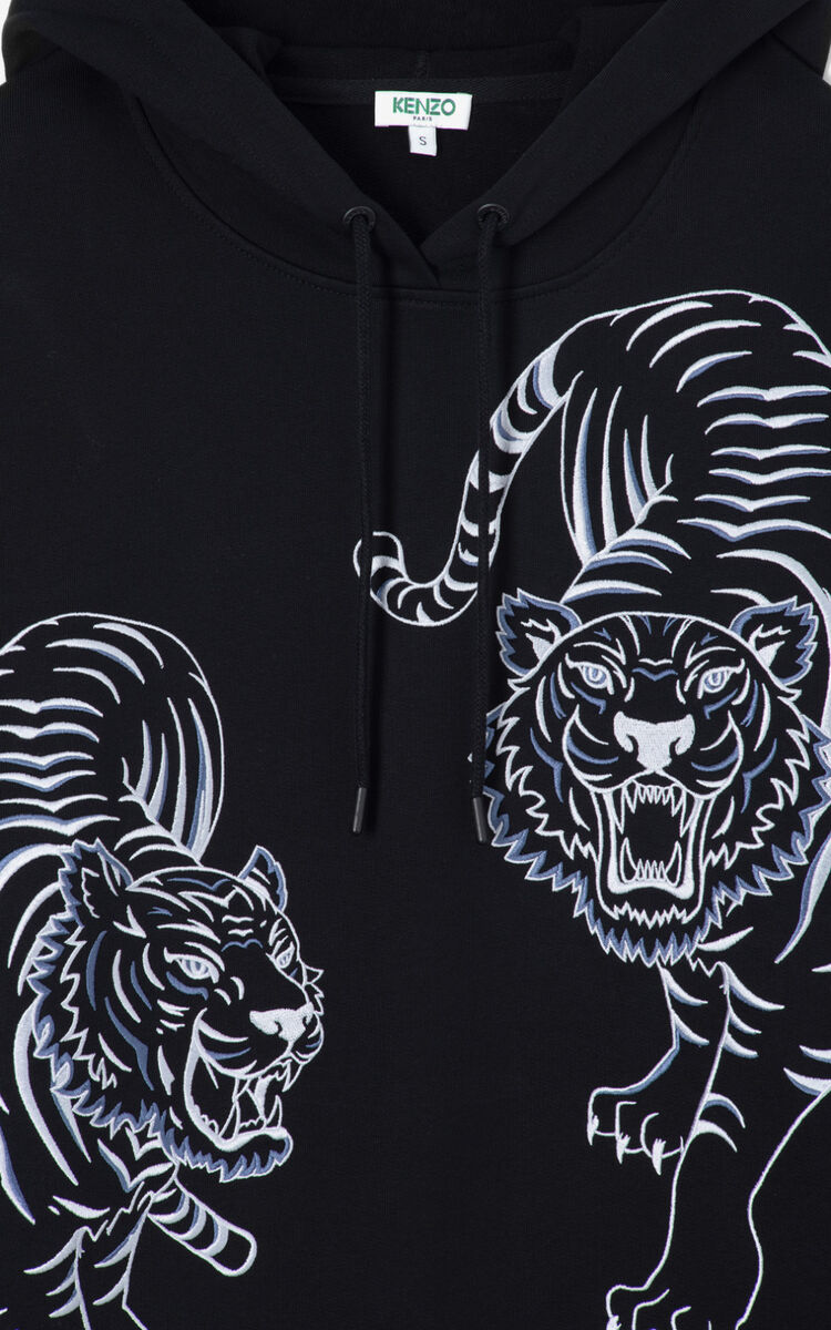 BLACK Double Tiger' hoodie for women KENZO