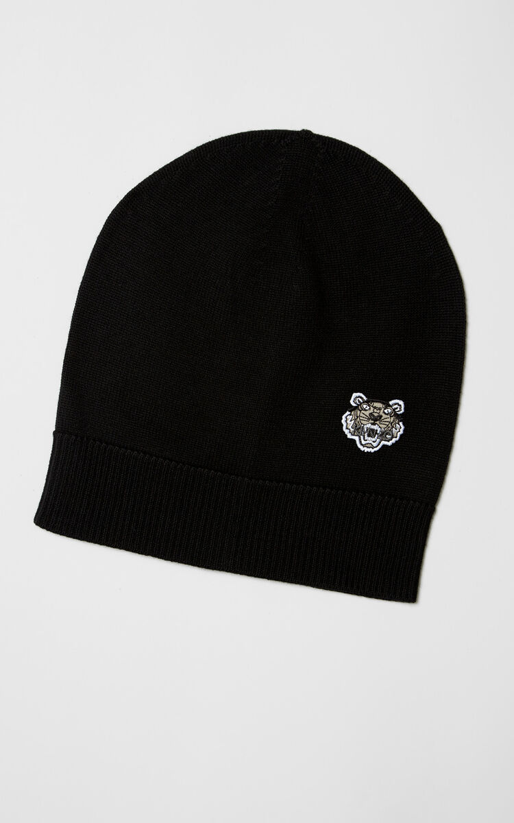 BLACK Tiger Crest Beanie for unisex KENZO