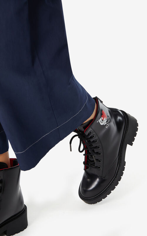 BLACK 'Lucky Tiger' Pike boots for women KENZO