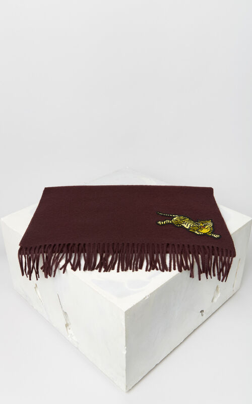 PRUNE 'Jumping Tiger' wool scarf for unisex KENZO