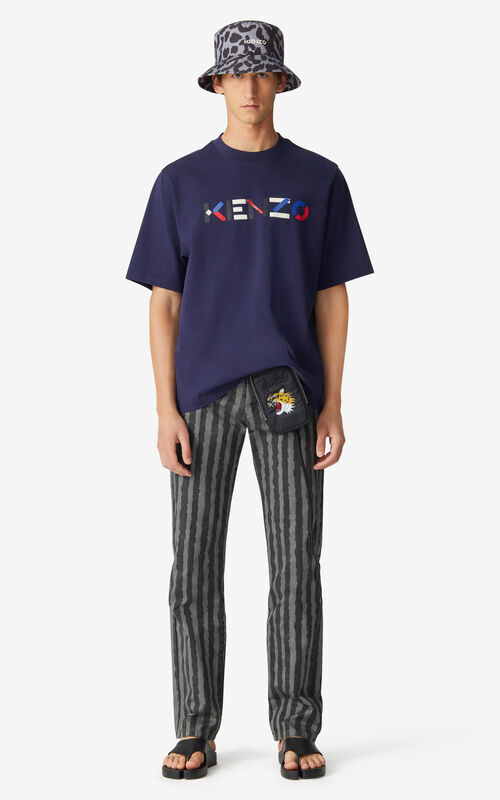 NAVY BLUE Multicoloured oversize KENZO Logo T-shirt for men