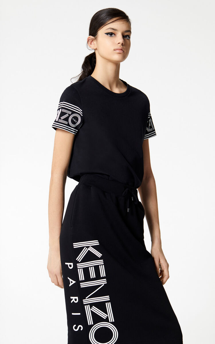 BLACK KENZO Logo pencil skirt for women