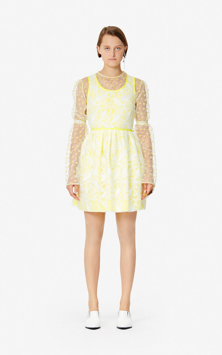 WHITE 'Flying Phoenix' skater dress for women KENZO