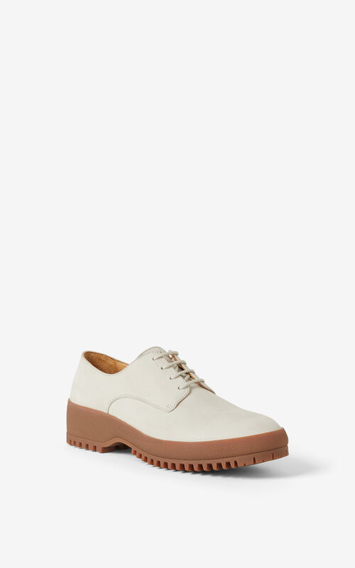 WHITE KENZO Trek suede derbies for unisex