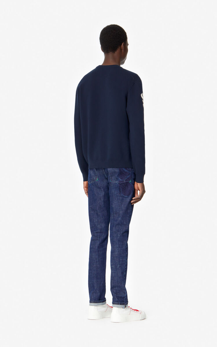 MIDNIGHT BLUE 'Mermaids' jumper for men KENZO