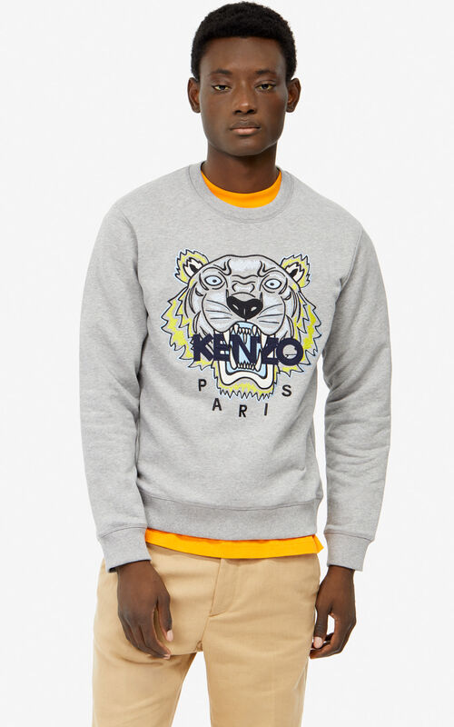 b564f420cf05 PEARL GREY Tiger sweatshirt for men KENZO ...
