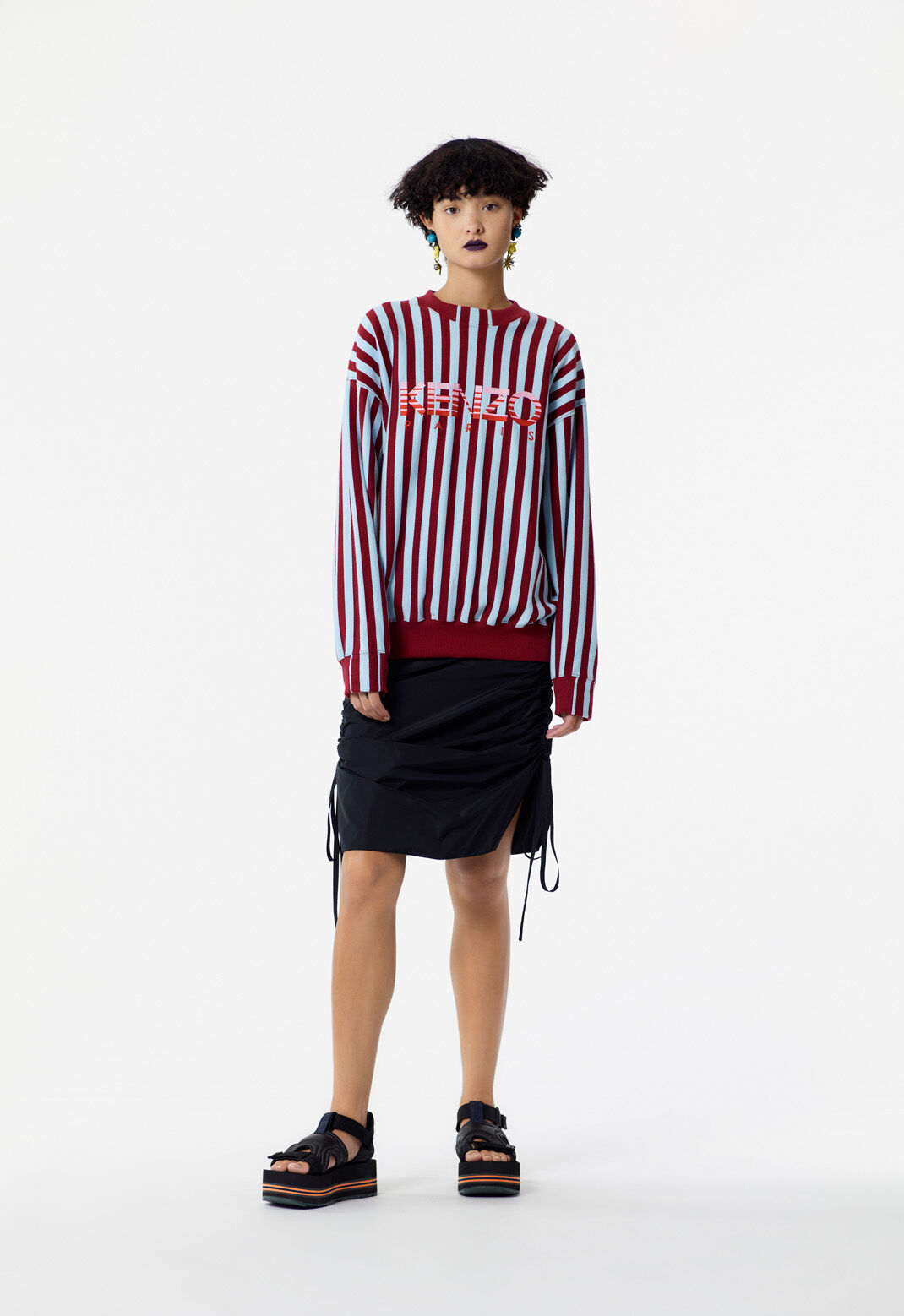 BORDEAUX Striped KENZO sweatshirt for women