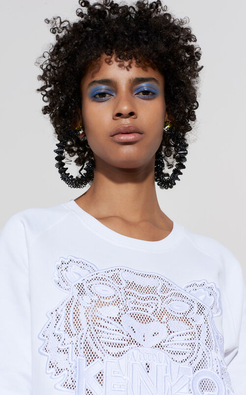 WHITE Mesh Tiger Sweatshirt for women KENZO