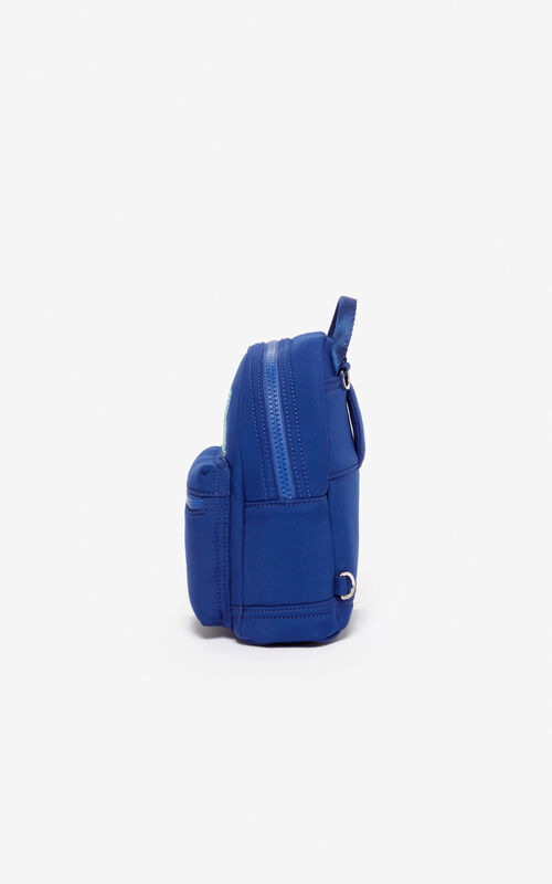NAVY BLUE Neoprene Tiger mini rucksack for unisex KENZO