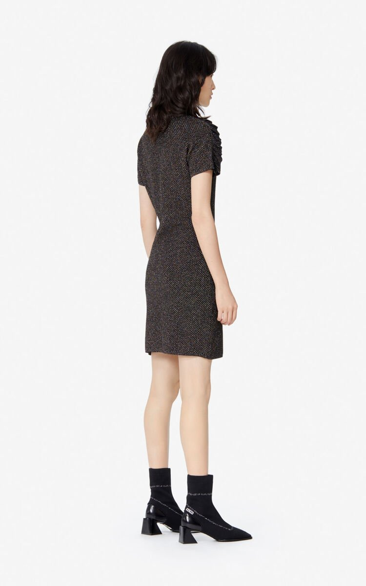 BLACK Frilled glitter dress for women KENZO