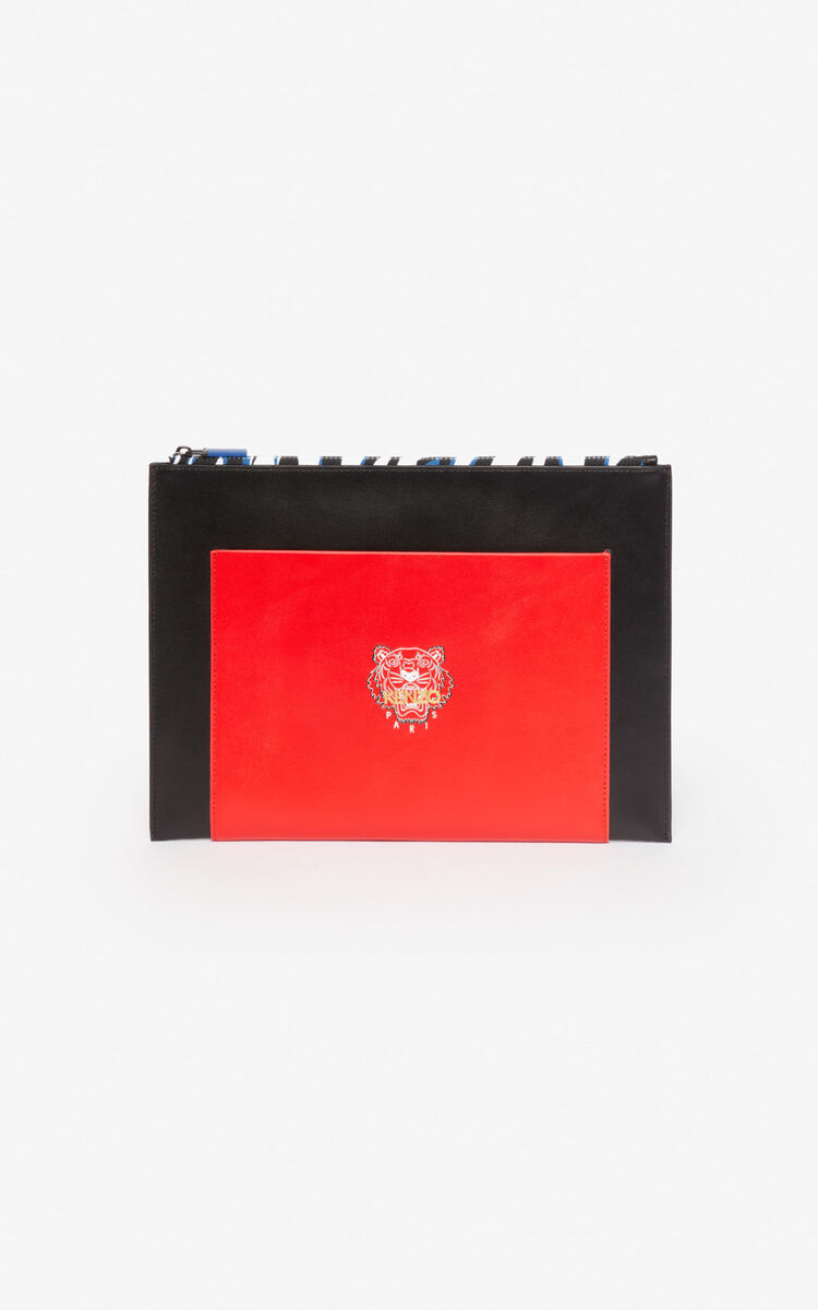 BLACK 'Tiny Tiger' A4 leather clutch for women KENZO