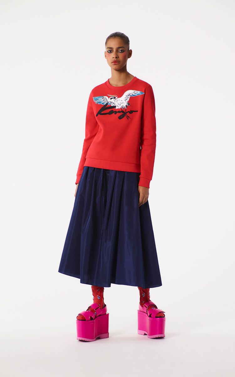 MEDIUM RED Crane' Sweatshirt for women KENZO