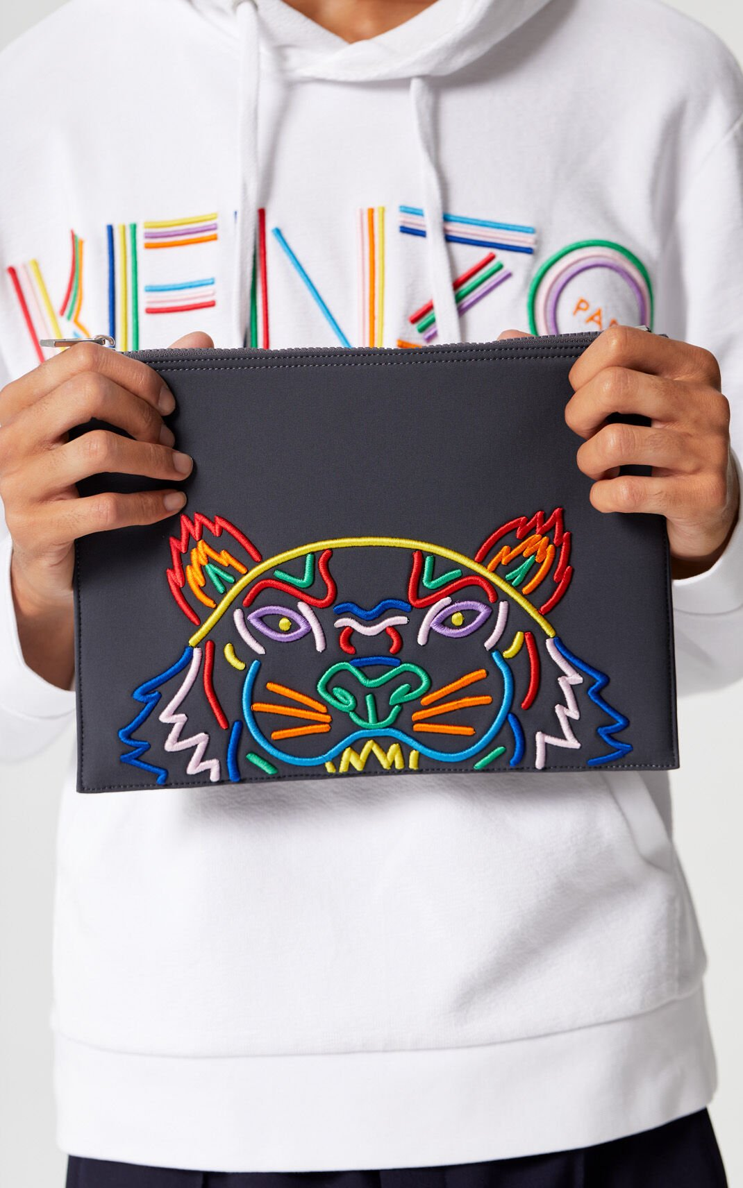 ANTHRACITE 'High Summer Capsule Collection' A4 Tiger neoprene pouch for women KENZO
