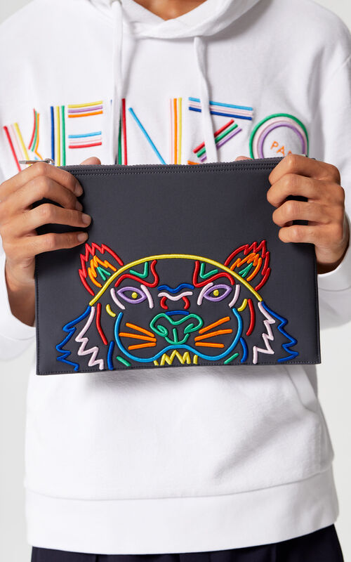 ANTHRACITE 'High Summer Capsule Collection' A4 Tiger neoprene pouch for men KENZO