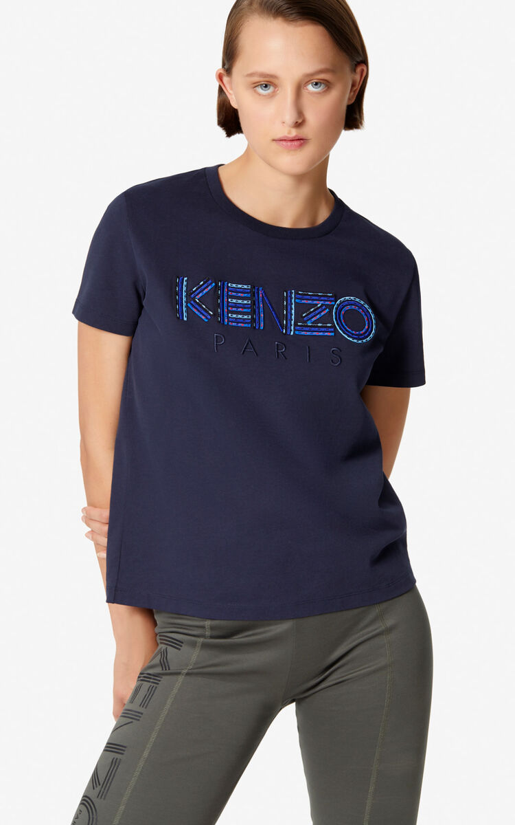 NAVY BLUE Embroidered KENZO Paris t-shirt for women