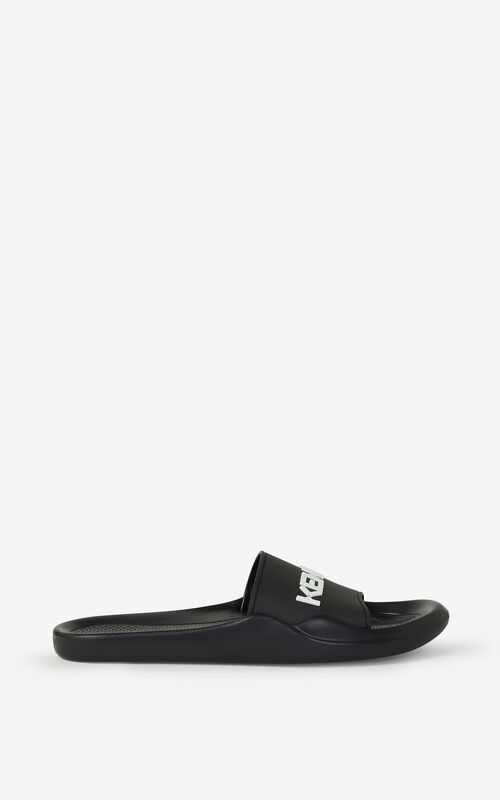 BLACK KENZO Logo Pool flip flops for unisex
