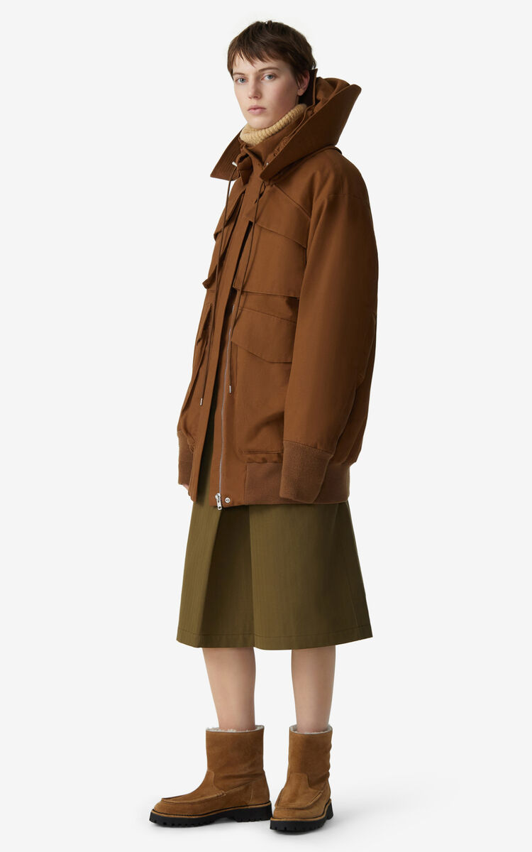 DARK CAMEL Long parka for women KENZO