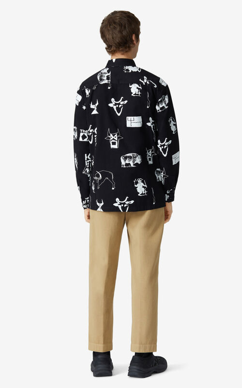 BLACK 'Chinese New Year Capsule' 'Sign & Symbol' shirt jacket for men KENZO