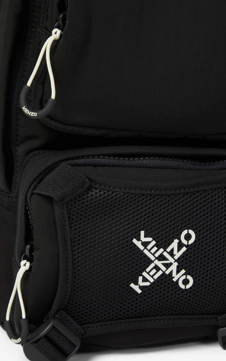 BLACK KENZO Sport backpack with strap for unisex