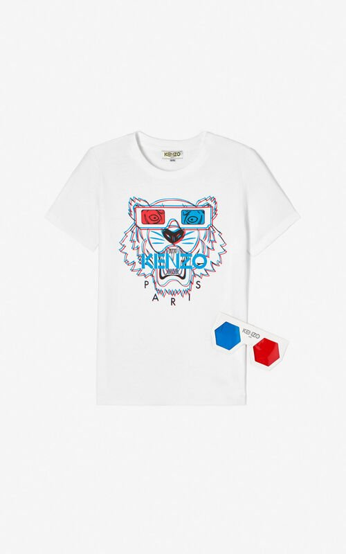 WHITE 3D Tiger T-shirt for women KENZO