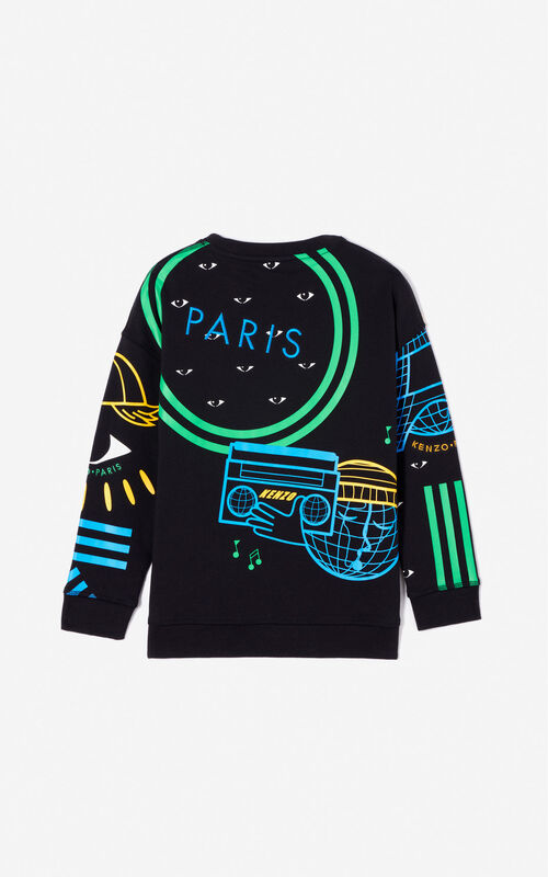 BLACK 'Cosmic' multi-icons sweatshirt for women KENZO
