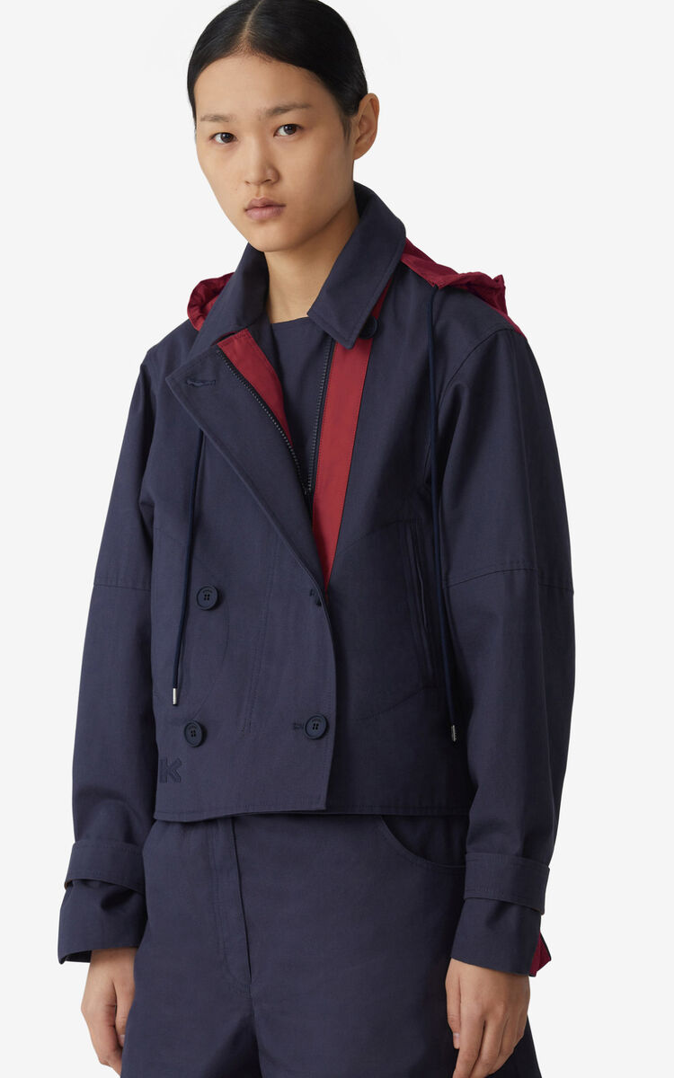 NAVY BLUE Short pea coat for women KENZO