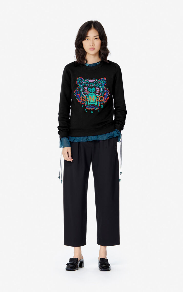 BLACK 'Holiday Capsule' Tiger sweatshirt for women KENZO