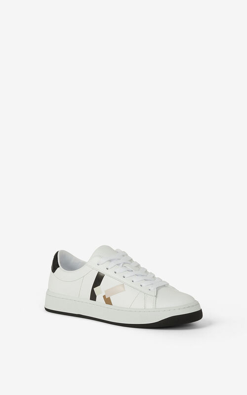 FADED PINK KENZO Kourt 'K Logo' leather sneakers for women