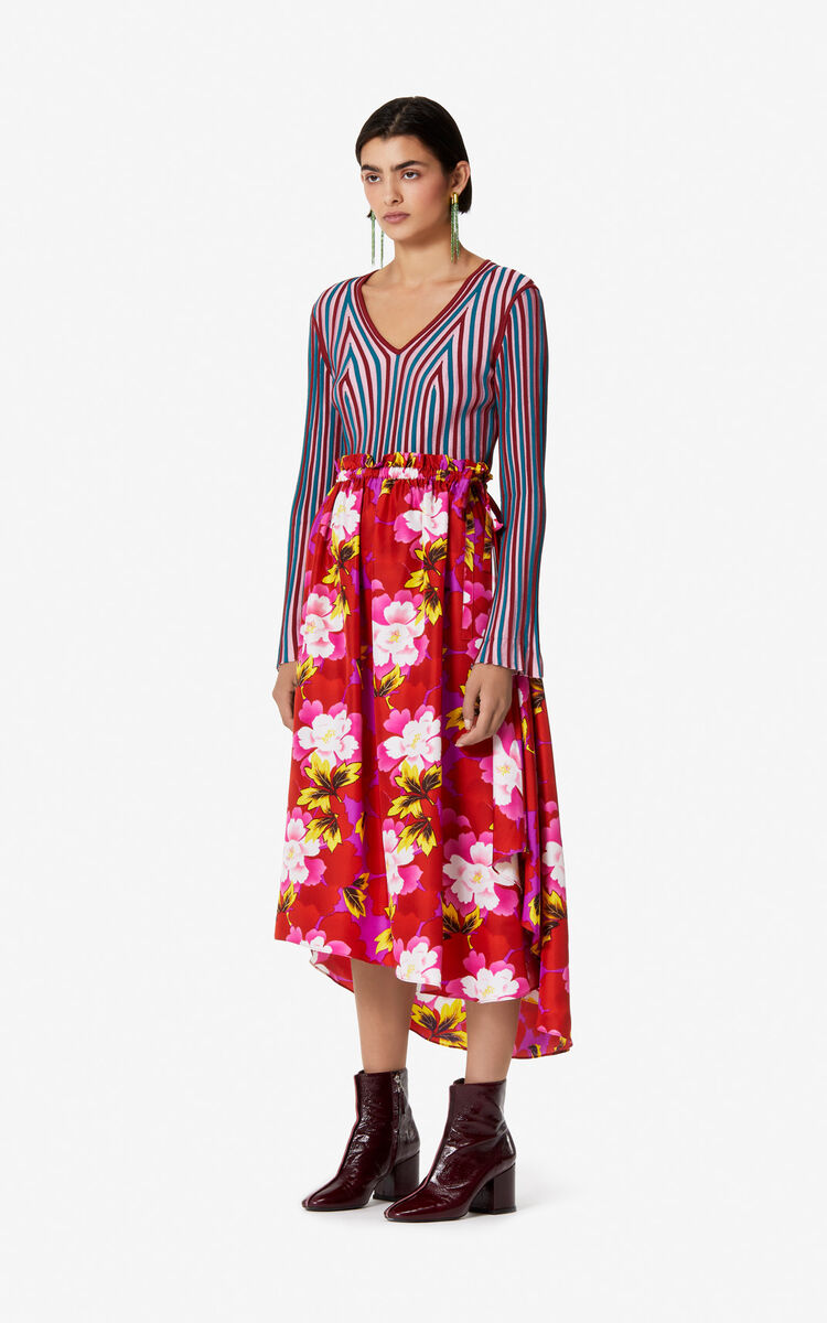 MEDIUM RED 'Indonesian Flower' silk midi skirt for women KENZO