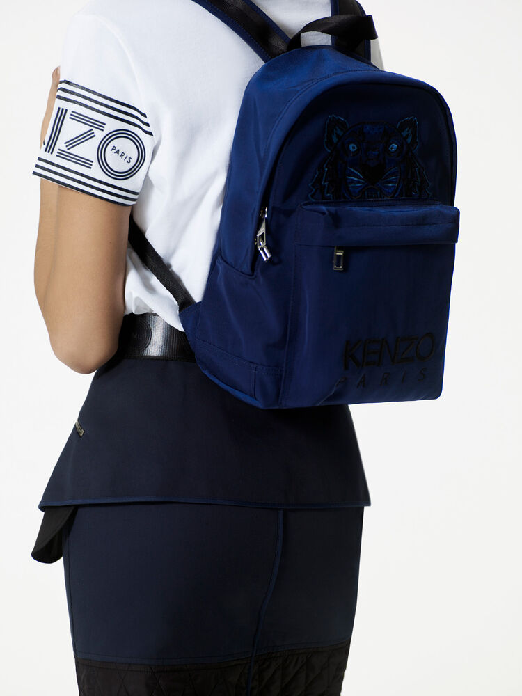 NAVY BLUE Medium Tiger Canvas backpack for men KENZO