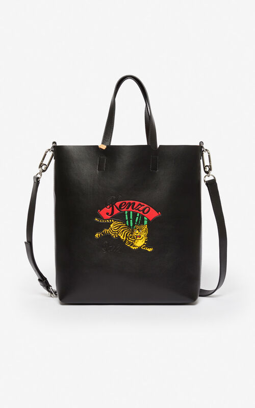 BLACK 'Jumping Tiger' small tote bag for men KENZO