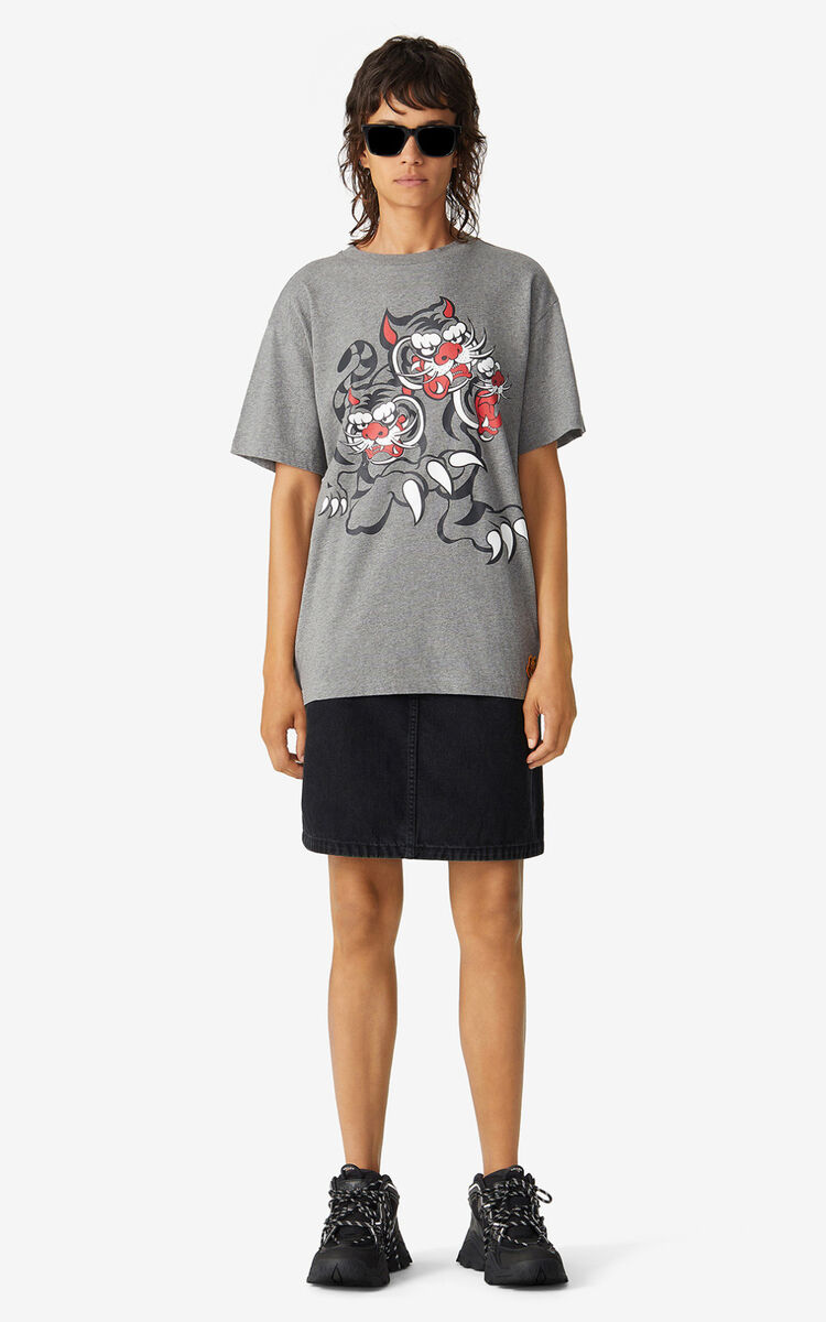 PEARL GREY KENZO x KANSAIYAMAMOTO 'Three Tigers' loose-fitting T-shirt for women