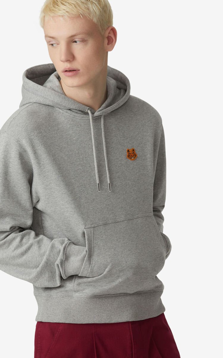 PEARL GREY Tiger Crest hoodie for men KENZO