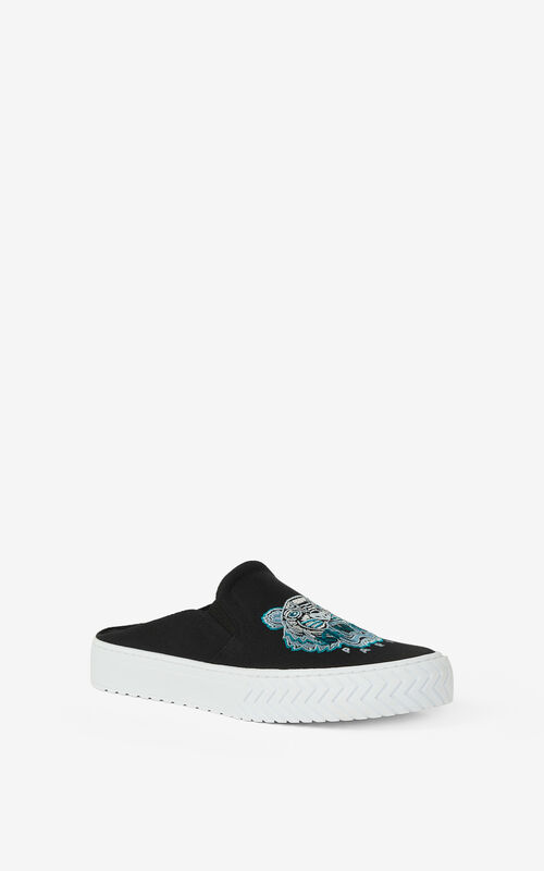 BLACK Canvas K-Skate Tiger mule sneakers KENZO