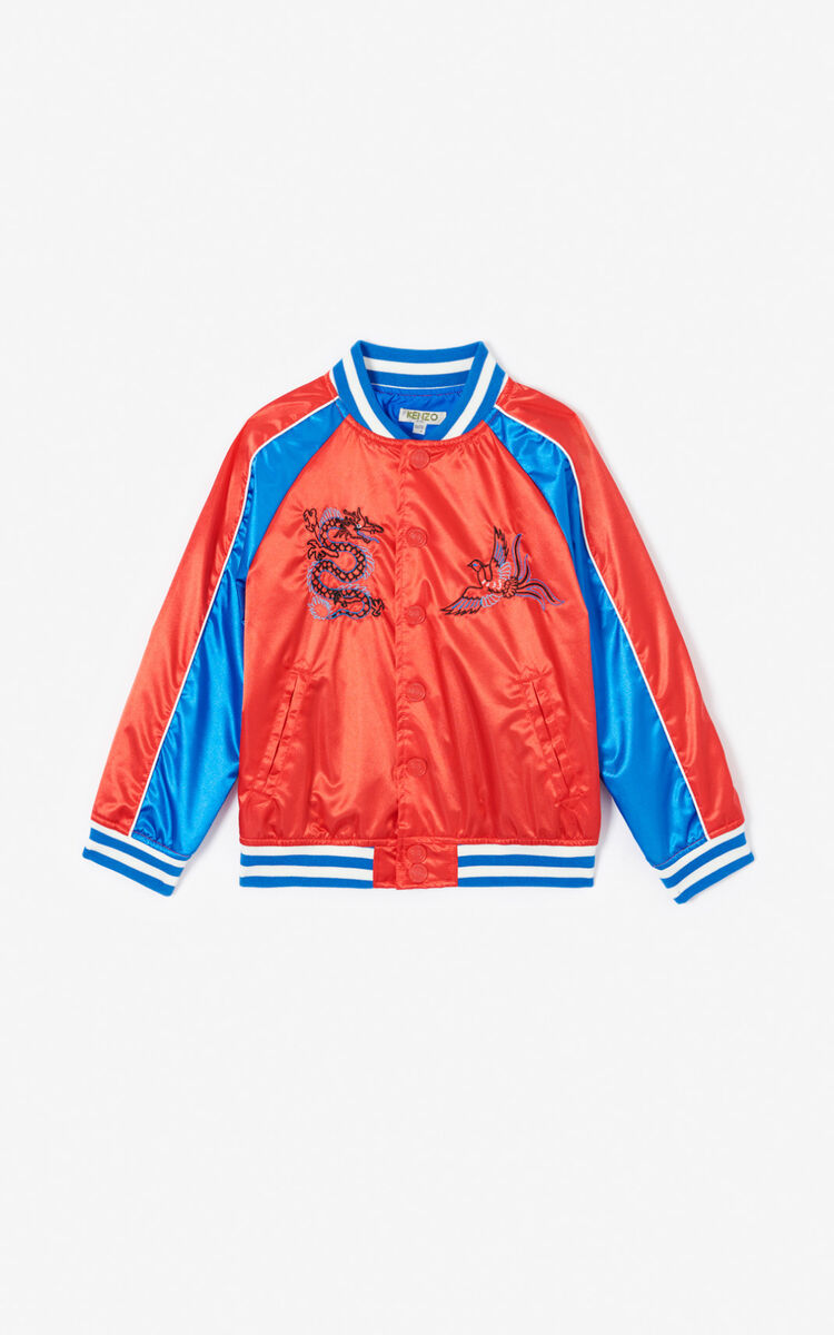 MEDIUM RED 'Dragon Celebration' Tiger Teddy jacket for men KENZO