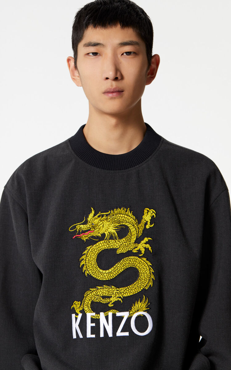 ANTHRACITE KENZO Dragon sweatshirt for men