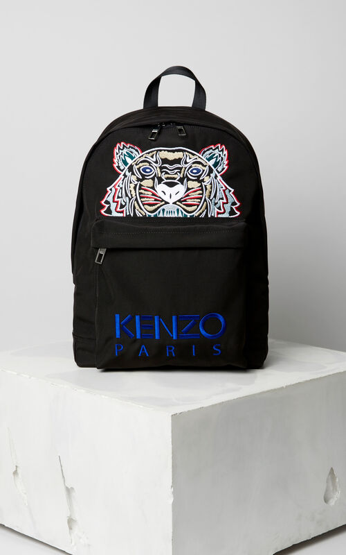 BLACK Large Tiger Canvas backpack for men KENZO