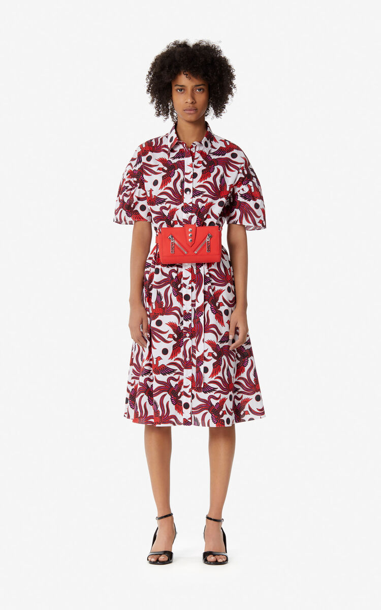 MEDIUM RED 'Flying Phoenix' shirt dress for women KENZO