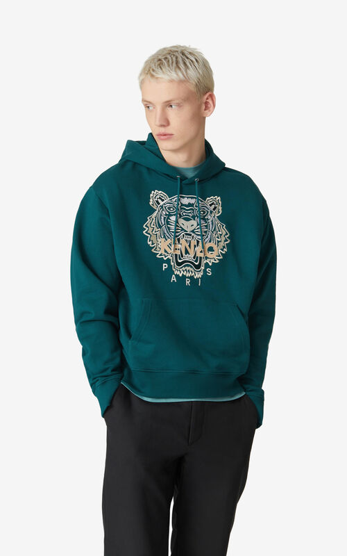 DUCK BLUE Tiger hoodie for men KENZO