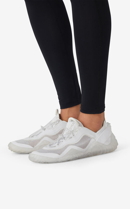 WHITE KENZO Sport Wave mesh trainers for women