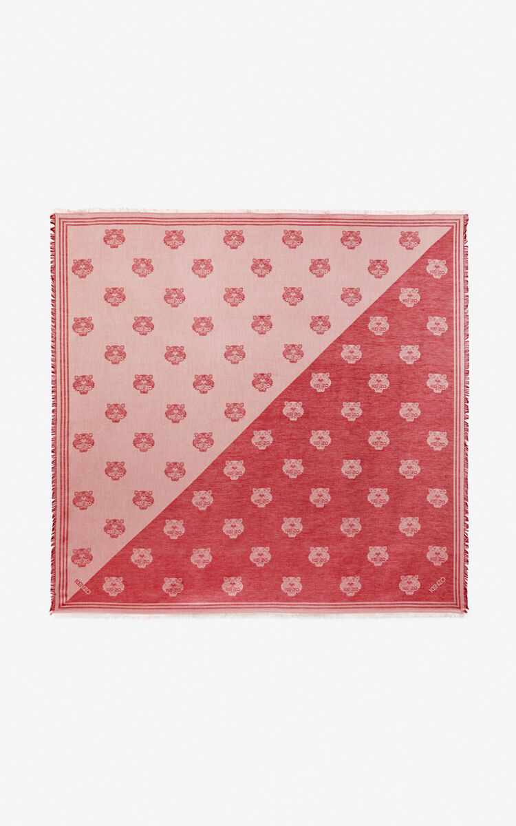 MEDIUM RED Large two-tone Tiger scarf for women KENZO