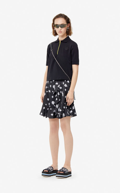 BLACK Boxy Tiger polo for women KENZO