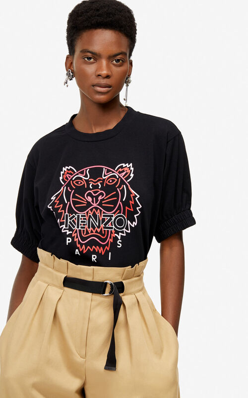 BLACK 'Neon Tiger' T-shirt for women KENZO