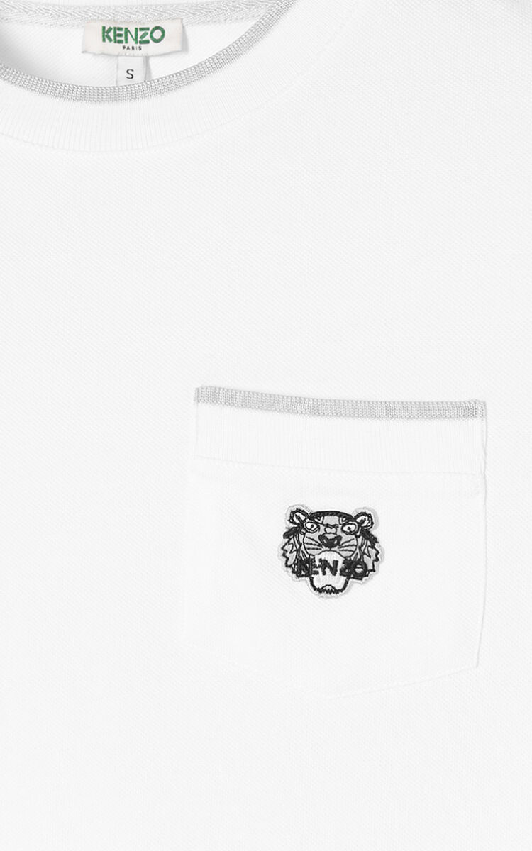 WHITE Tiger crest t-shirt for women KENZO