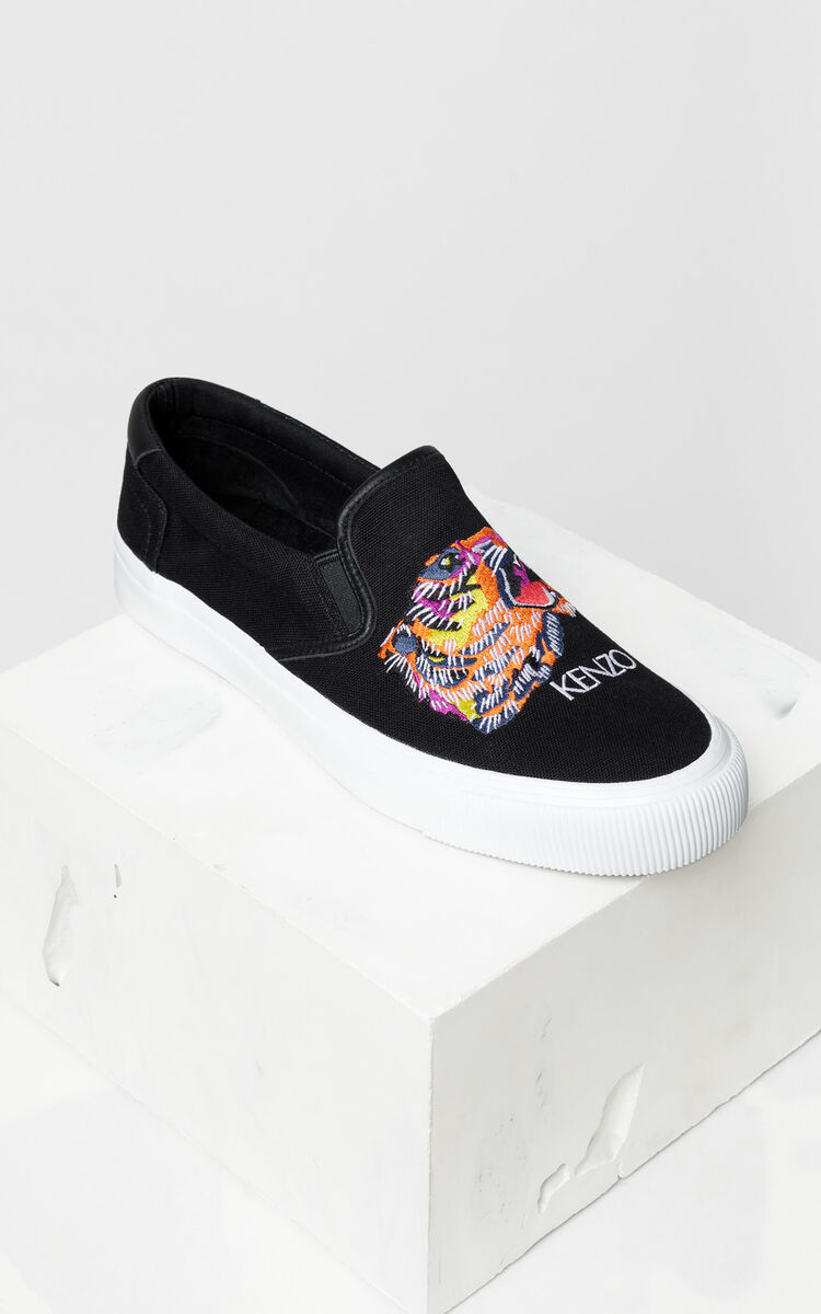 BLACK 'Tiger Head' Slip-On Trainers 'Go Tigers Capsule' for unisex KENZO