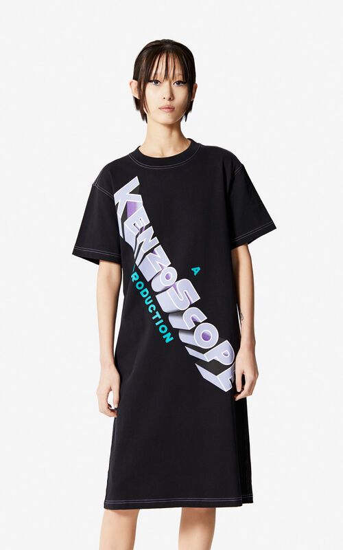 BLACK 'Kenzoscope' t-shirt dress for women